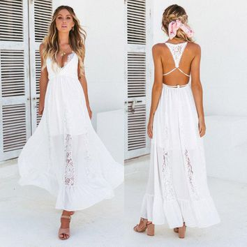 Fashion Casual Women's Ladies Dresses Summer Boho Long Maxi Evening Party Sleeveless Beach Dress Sundress Black White