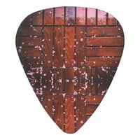 Cool Brown Wooden Ply texture With Wintry Snow Ice Guitar Pick