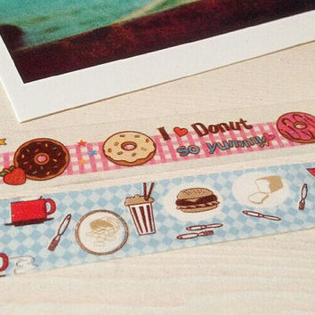 2 rolls Donuts and Afternoon tea Washi Tape -- Japanese Washi Tape -Deco tape-- Food Series--15mm x10M per roll