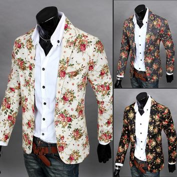 2018 Christmas designer Men Clothing Luxury Designer Mens Blazer print Jacket Stylish Fancy Brand floral Males Suits Blazers