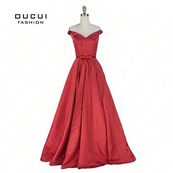 Real photos simple red prom dress Off the Shoulder Satin Fitted Corset Long Formal Gown Evening Dresses V neck OL102948