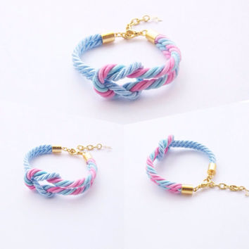 tie the knot , rope knot bracelet , nautical bracelet , bridesmaid gift , cotton candy