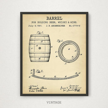 Barrel Blueprint Patent Art, Digital Download Beer Whiskey Rum Brandy Liquor Alcohol Spirits Beverages Oil Wine Barrel Kitchen Pub Bar Decor