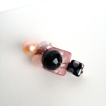 Shell, Pearl, Rose Quartz, Crystal and Glass Brooch - Pink & Black Brooch