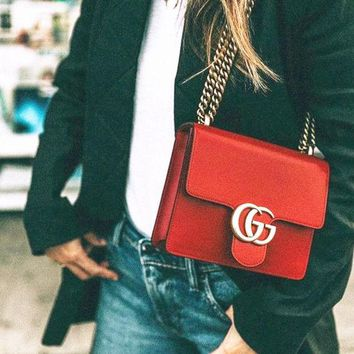 Gucci Women Leather Metal Chain Crossbody Shoulder Bag Satchel Red For Women