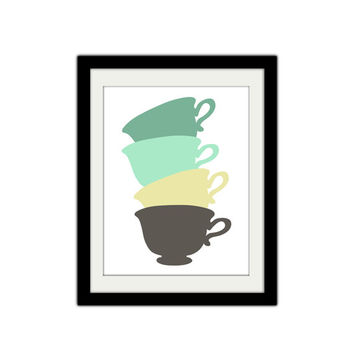 "Stacked Tea Cups. Vintage Themed. Simple and Minimal. Tea Cup Poster. Kitchen Poster. Custom Colors. Gift Idea. 8.5x11"" Print."