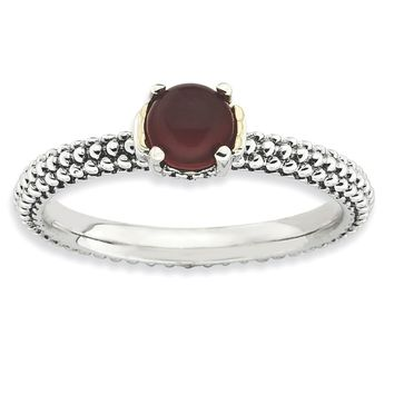 Sterling Silver & 14k Gold Stackable Expressions Red Agate Antiqued Ring