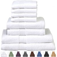 8-Piece Cotton Bath Towel Set in White with 2 Hand Towel & 4 Washcloths