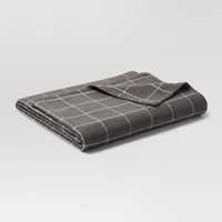 Soft Textured Blanket (Twin) Window Pane Pattern Gray & White - Threshold™