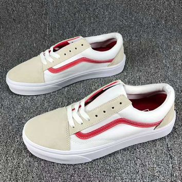 Vans Canvas Old Skool Fashion Casual Flats Sneakers Sport Shoes Red G-SSRS-CJZX