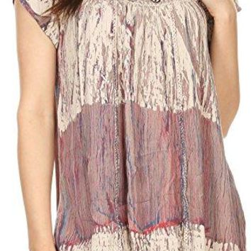 Sakkas Maritza Short Sleeve Batik Top with Crochet Embroidery and Sequins