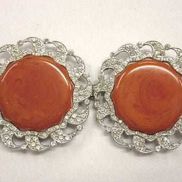 Butterscotch Bakelite and Rhinestone Buckle Apex Art Nov Co