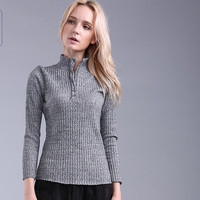 Grey Ribbed High Neckline Knitted Long Sleeve Top