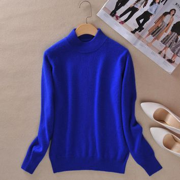 New Brand Sweater Women Wool Plus Size Pink Slim Basic Pullovers Femme 2XL Cashmere Knitted Sweater Women