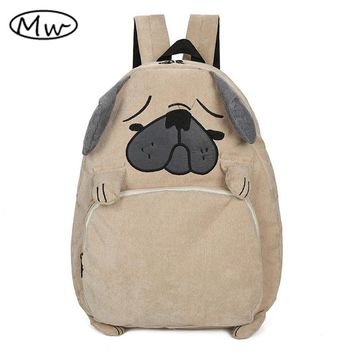 2016 Japanese cute cartoon animals backpack school bags for girls larger capacity corduroy backpack high school students bag