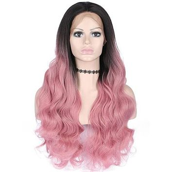 Light Pink Strawberry Wave Long Synthetic Lace Front Wig