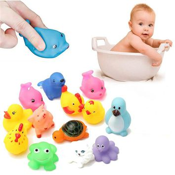 13Pcs Cute Soft Rubber Float Squeeze Sound Dabbling Toys Baby Wash Bath Play Animals Toys Bath Toy