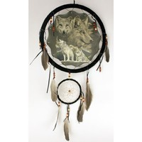 White Wolves Theme Dream Catcher with Feathers 13 Inches