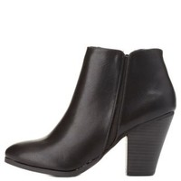 City Classified Chunky Heel Booties by Charlotte Russe - Black