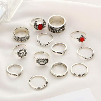 1 Set Silver Color Moon And Sun Midi Female Ring Sets for Women 2017 Fashion Vintage Red Big Stone Knuckle Rings Gift