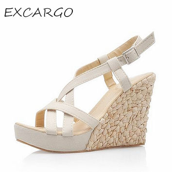 Bohemian Roman Slope Plus Size 30-43 Sexy High Waterproof Sandals 2017 New Women Wedge Pumps Summer Shoes
