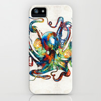 Colorful Octopus Art by Sharon Cummings iPhone & iPod Case by Sharon Cummings