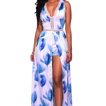 Blue White Flowers Print Backless Short Jumpsuit With Maxi Overlay LAVELIQ