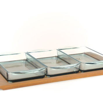 Danish Modern Teak Serving Tray and Smokey Glass Condiment Dishes Luthje Denmark