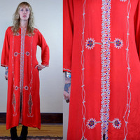 Vintage 70's Red Rayon Cotton Bohemian Hippie Embroidered Dashiki Robe Dress