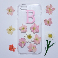 Personalized iPhone 5s Case,monogram iPhone 6 case,clear iPhone 5C case,initial iphone 6 plus case,flower phone case,dried flower phone case