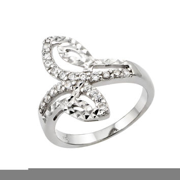 925 Sterling Silver Ladies Jewelry Ring w/ Filigree And Diamond Cut Design.Ring Center Dimensions Are 19.7mm X 7.9mm  Come In Sizes Of 5, 6, 7, 8, And 9.: Size: 5