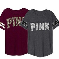 Gotopfashion Victoria's Secret Fashion Women PINK Letter Print Logo Short Sleeve Round Collar T-Shirt Top Tee I