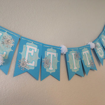 Let it snow blue glitter snowflake banner christmas decoration