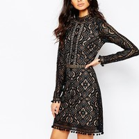 For Love and Lemons Florence Cocktail Dress with Long Sleeves