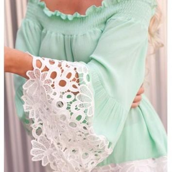 2018 Green Lace Cut Out Off Shoulder Sweet Going out Chiffon Blouse