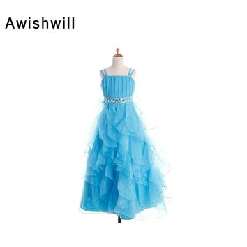 Blue Color Flower Girl Dresses for Weddings Beadings Ruffles Organza Spaghetti Strap Kids Evening Gowns Girls Pageant Dresses