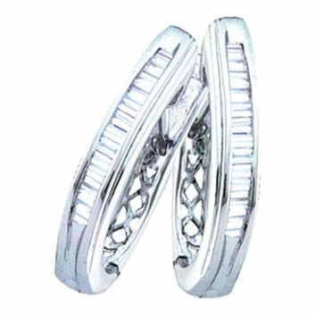 10kt White Gold Women's Baguette Channel-set Diamond Hoop Earrings 1-3 Cttw - FREE Shipping (USA/CAN)
