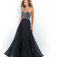 Black Strapless Sweetheart Beaded Bodice Chiffon Dress