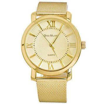 Jewelry Kay style Men's Fashion Gold Plated Mesh Metal Band Watches Stainless Steel WM 7919 G