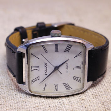 Vintage Poljot mens watch white dial russian watch ussr ccp soviet watch