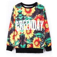 Green Yellow Long Sleeve Sunflower GREENDAY Print Sweatshirt