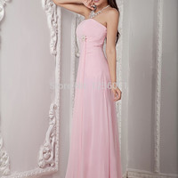 2016 Petals pink perspective backless dinner party long chiffon prom dress, cocktail dress the bride wedding toast