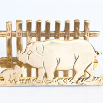 Vintage Pig Shaped Solid Brass Napkin Holder, Metal Mail Organizer Bill Holder, Farmhouse Home Decor, New in Box