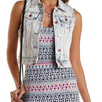 Acid Wash Denim Vest by Charlotte Russe