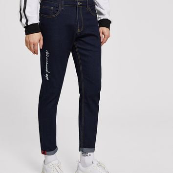 Men Letter Embroidery Jeans