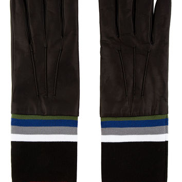 Raf Simons- Sterling Ruby Black Striped Accent Leather Gloves