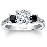 Barkev's Three Stone Black & White Diamond Engagement Ring