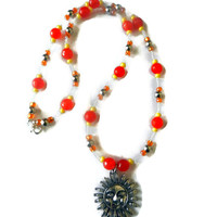Orange and Yellow Beaded Sun Charm Necklace