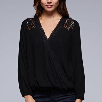 Crossover Blouse With Lace Trim