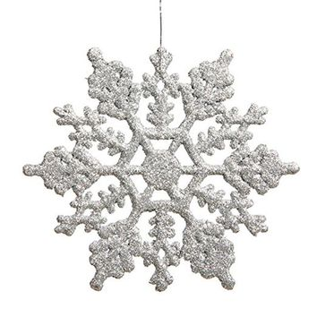 12pcs Plastic Snowflake Decorations 10cm Christmas Tree Snowflakes Pieces for Christmas Ornaments (Silver)